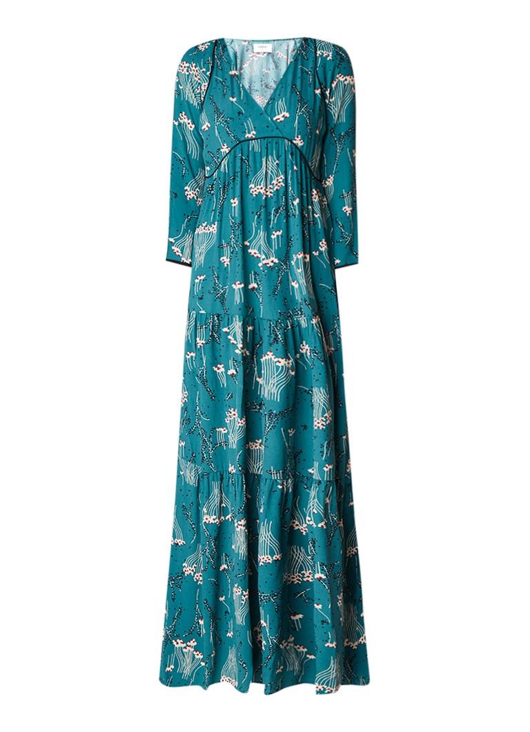 BA&SH Kina maxi-jurk met bloemendessin en driekwart mouw zwart