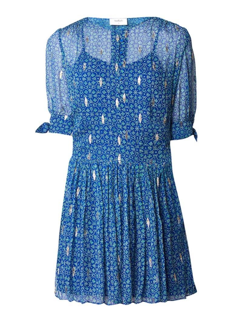 BA&SH Madrid tuniekjurk van zijde met dessin royalblauw