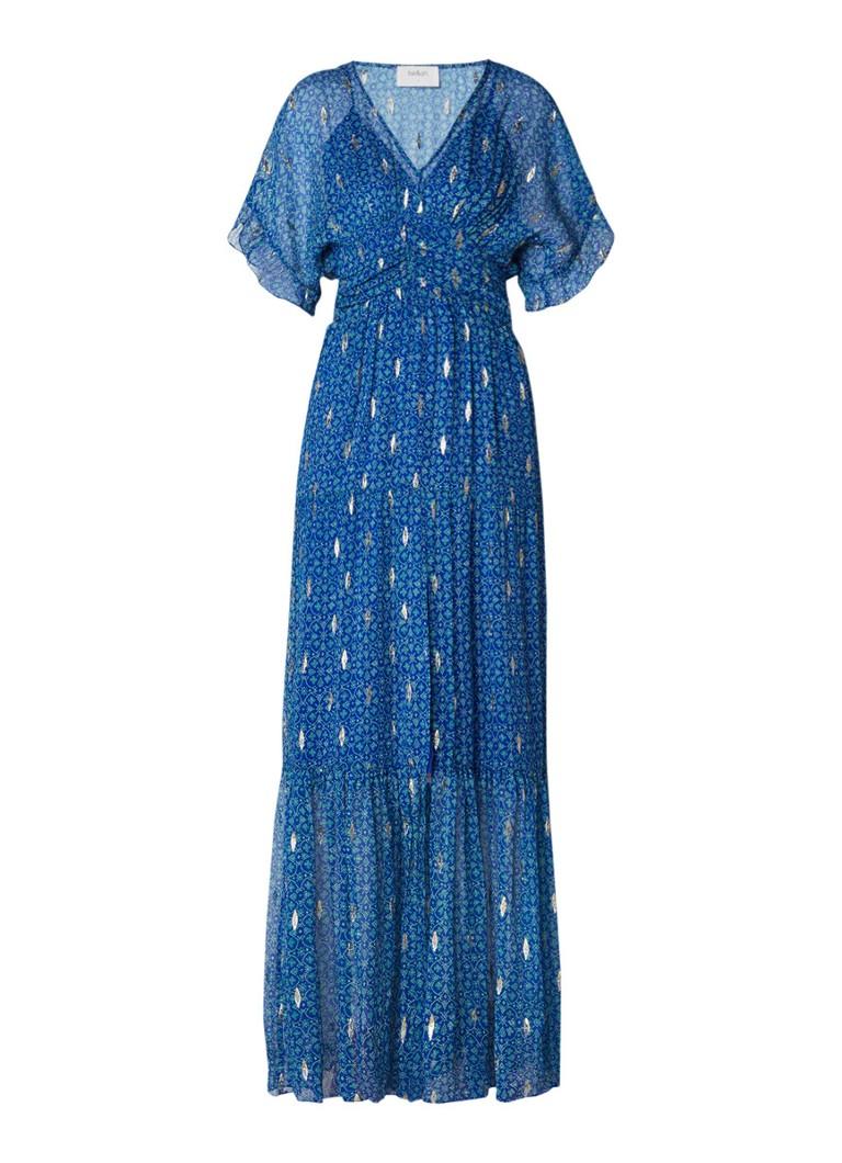 BA&SH Mela maxi-jurk van zijde met lurex detail royalblauw