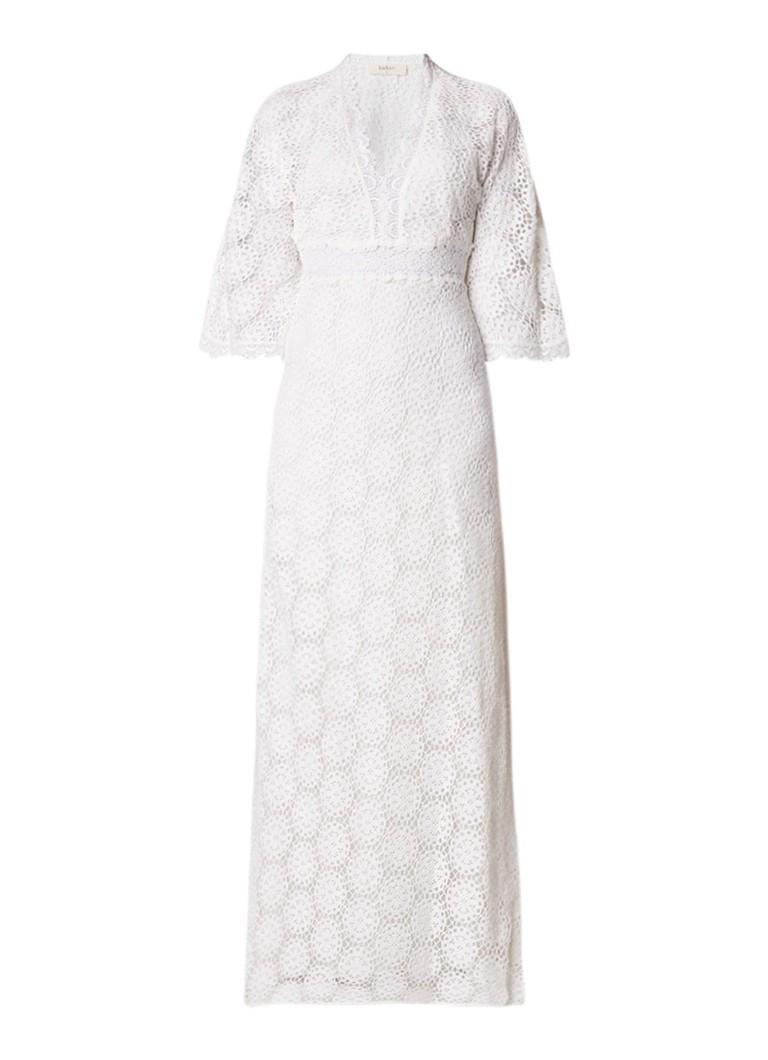 BA&SH Lorraine maxi-jurk van kant met driekwart mouw gebroken wit