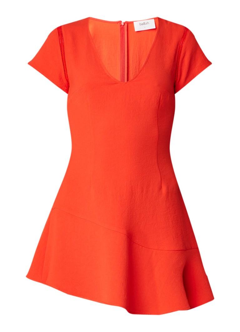 BA&SH Phoebe mini-jurk met asymmetrisch volant oranjerood