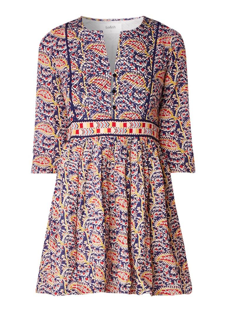 BA&SH Rius A-lijn jurk met dessin en bewerkte tailleband donkerblauw
