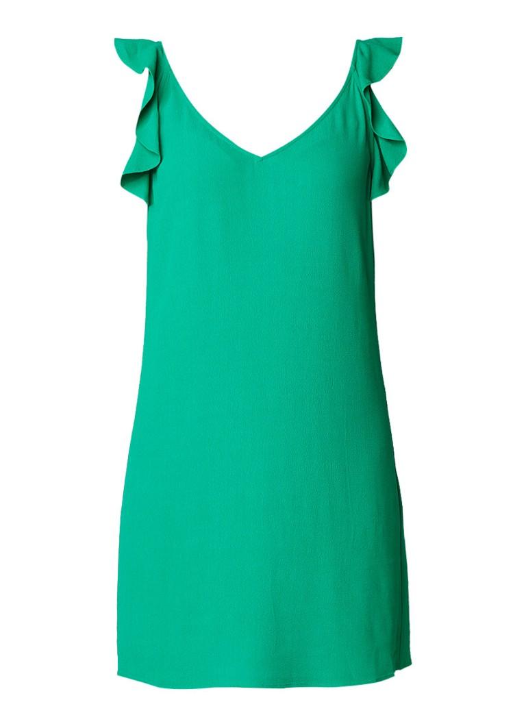 BA&SH Tampa mouwloze mini-jurk met volant flessengroen