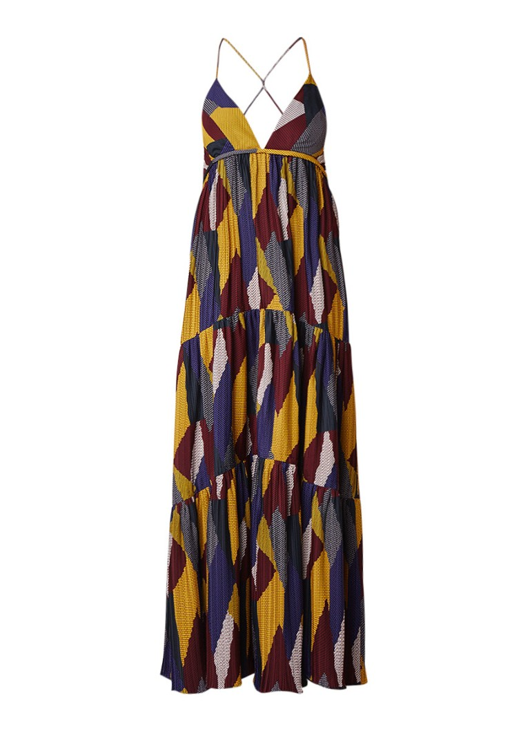 BA&SH Weave maxi-jurk met plissé en kleurrijk dessin multicolor
