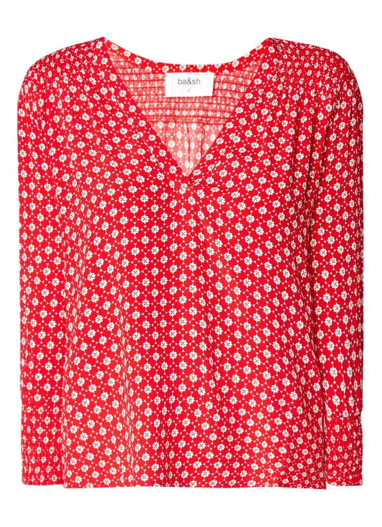 ba and sh Cosma blousetop met gesmockte details en grafisch dessin