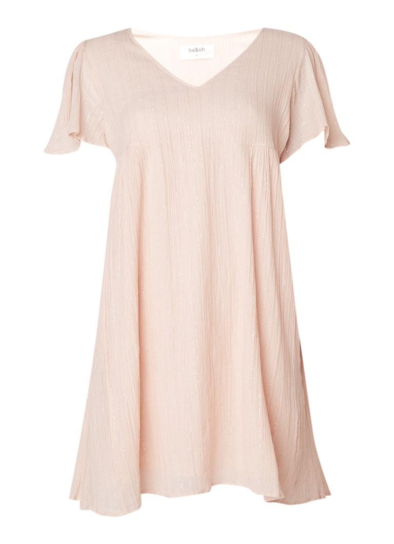 BA&SH Extaz mini-jurk met V-hals en glansdraad lichtroze