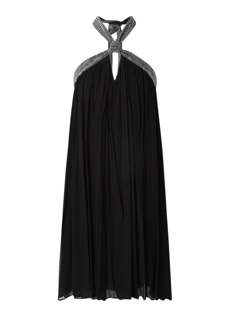BA&SH Halterjurk van zijde met strass-decoratie zwart
