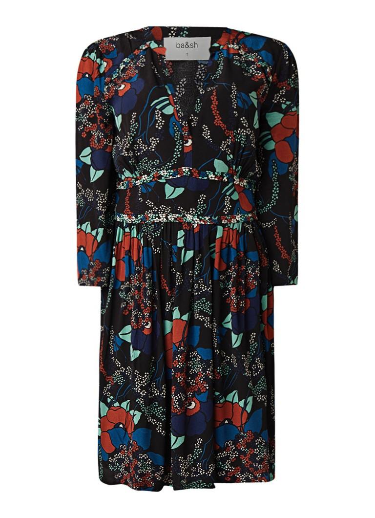 BA&SH Agathe jurk met dessin en V-hals zwart