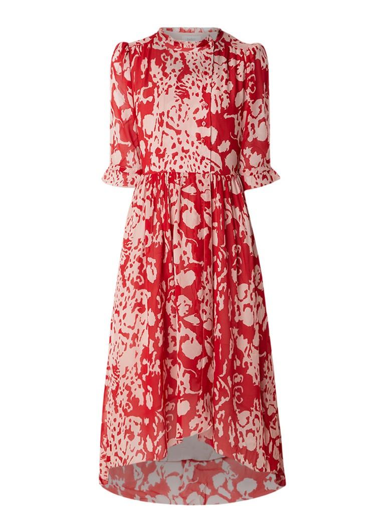 BA&SH Baleares midi blousejurk van crêpe met dessin rood