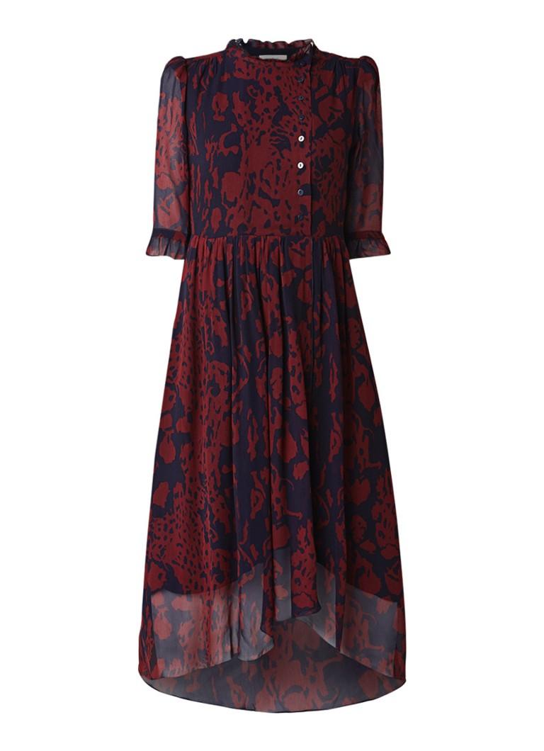 BA&SH Baleares midi blousejurk van crêpe met dessin middenblauw