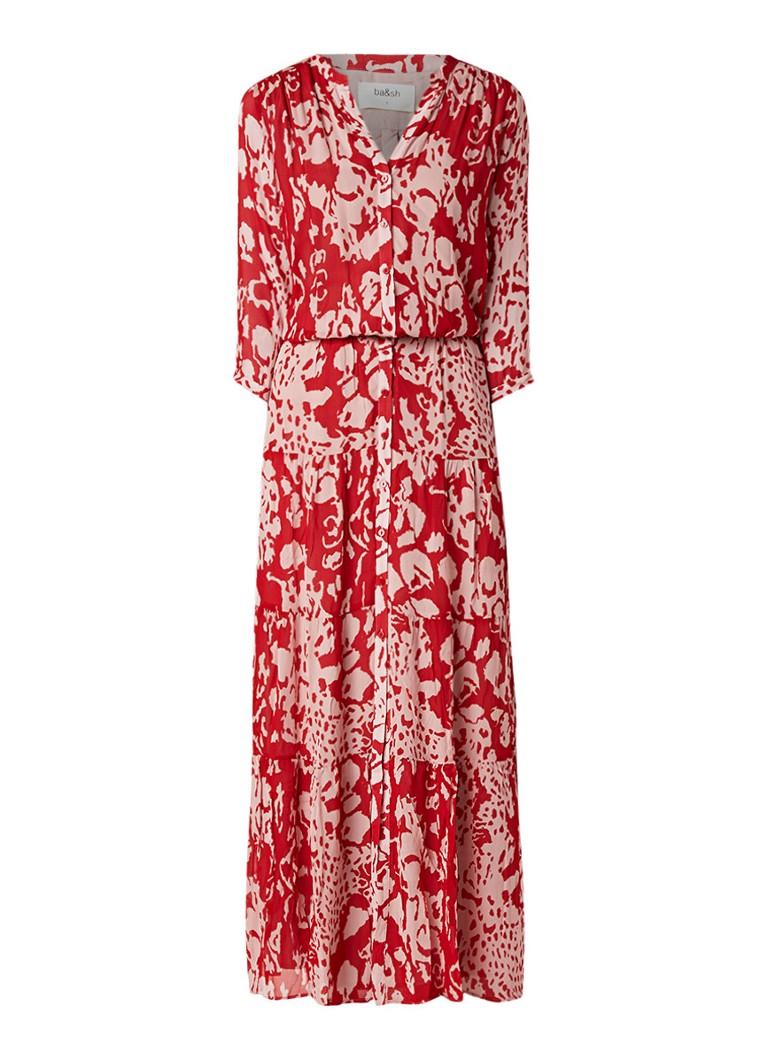 BA&SH Blake maxi blousejurk met dessin rood