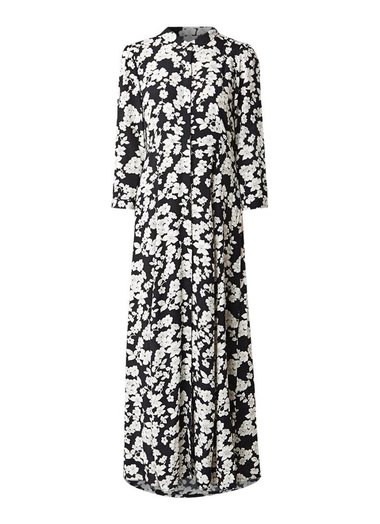 BA&SH Camille maxi blousejurk met bloemendessin zwart