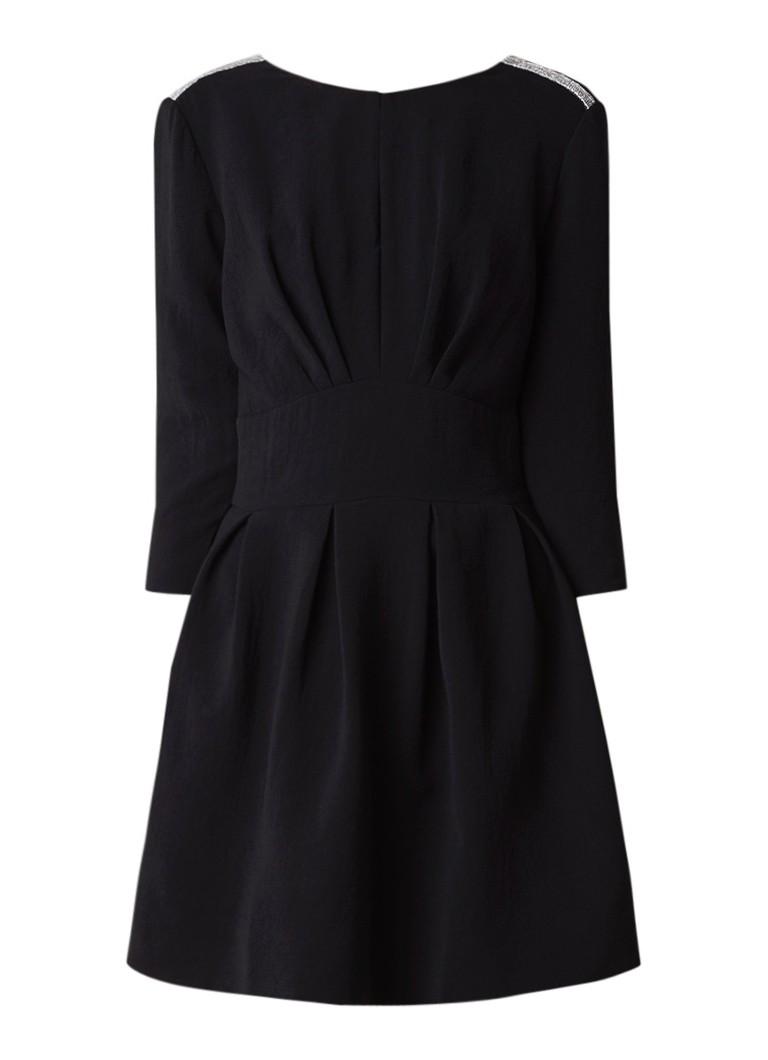 BA&SH Capri mini-jurk met kralendecoratie en V-hals zwart