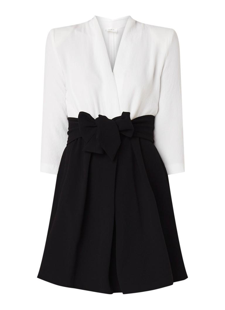 BA&SH Coral A-lijn jurk met strikceintuur en schoudervulling gebroken wit