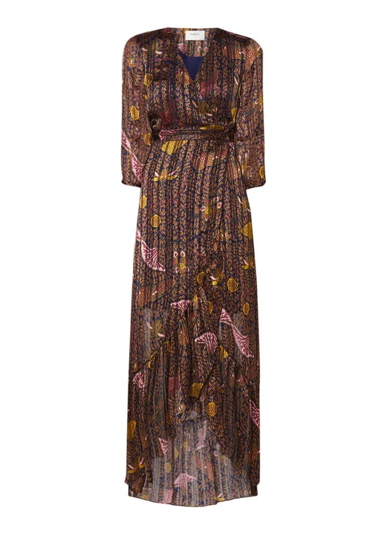 BA&SH Disy maxi-jurk van chiffon met bloemendessin bordeaux