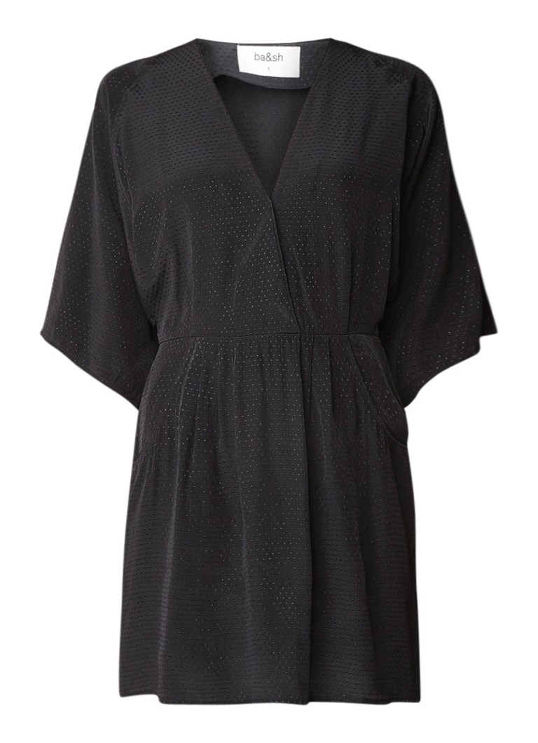 BA&SH Daisy jurk met ingeweven stippenstructuur zwart