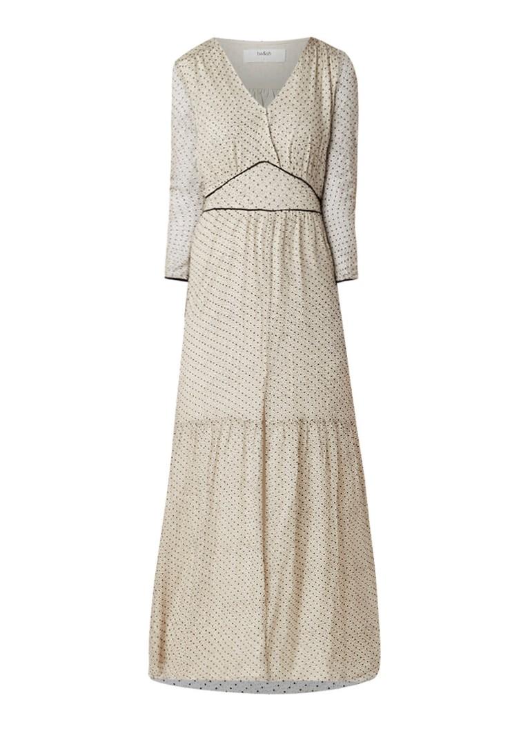 BA&SH Despina maxi-jurk van zijde met print gebroken wit