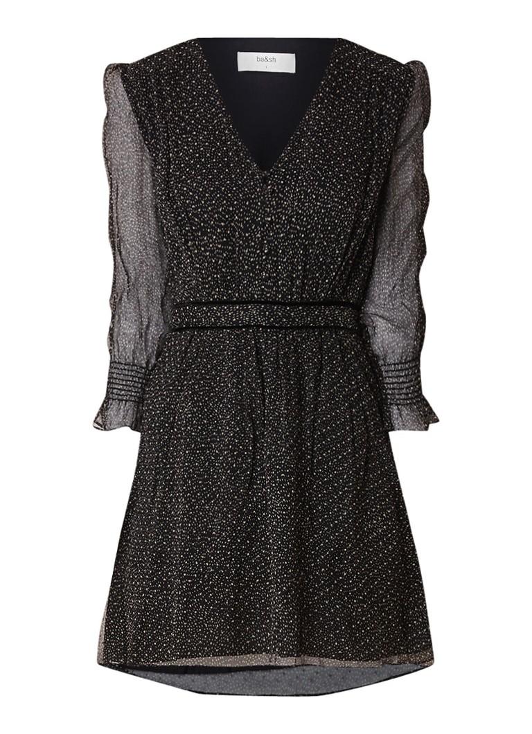 BA&SH Dolly tuniekjurk van zijde met print zwart