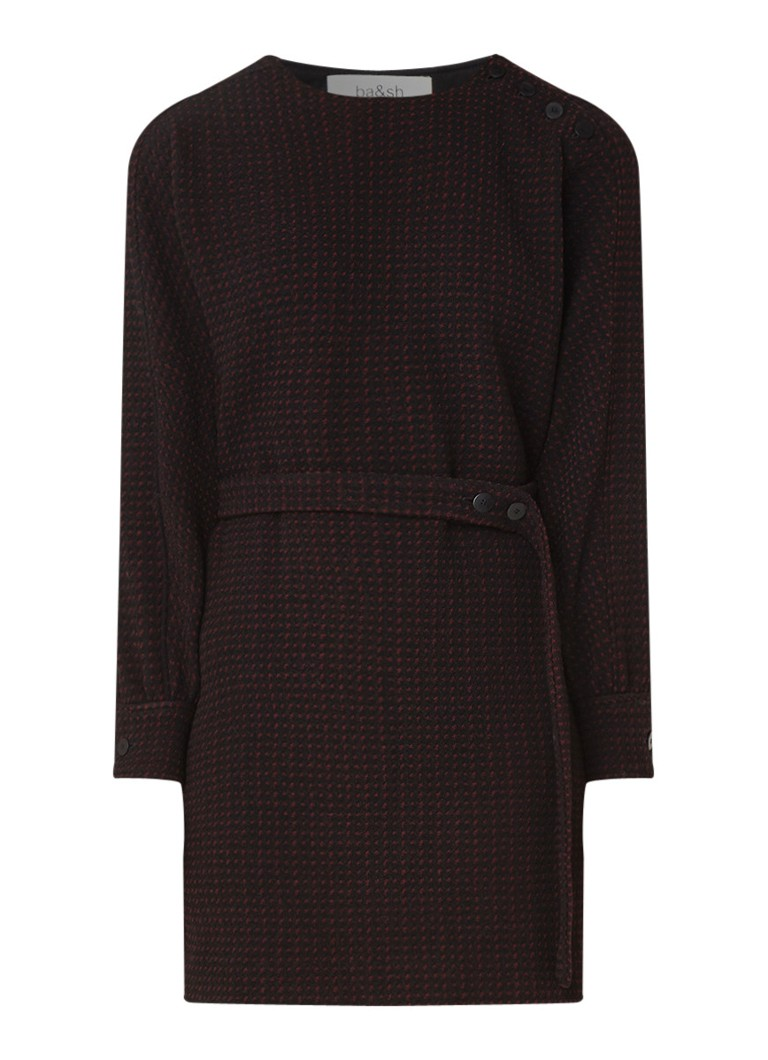 BA&SH Dimitri mini-jurk met ingeweven stippendessin zwart