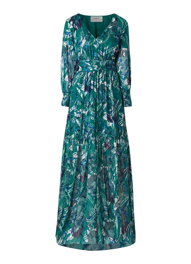 BA&SH Jasper maxi-jurk van zijde met jacquard bloemendessin flessengroen