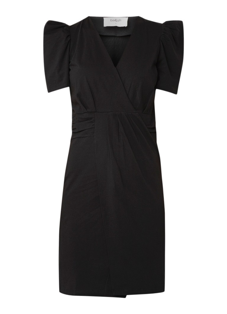 BA&SH Joplin kokerjurk van jersey met pofmouw zwart