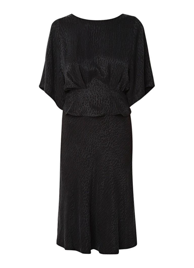 BA&SH Lola midi-jurk van cupro met micro luipaardprint zwart