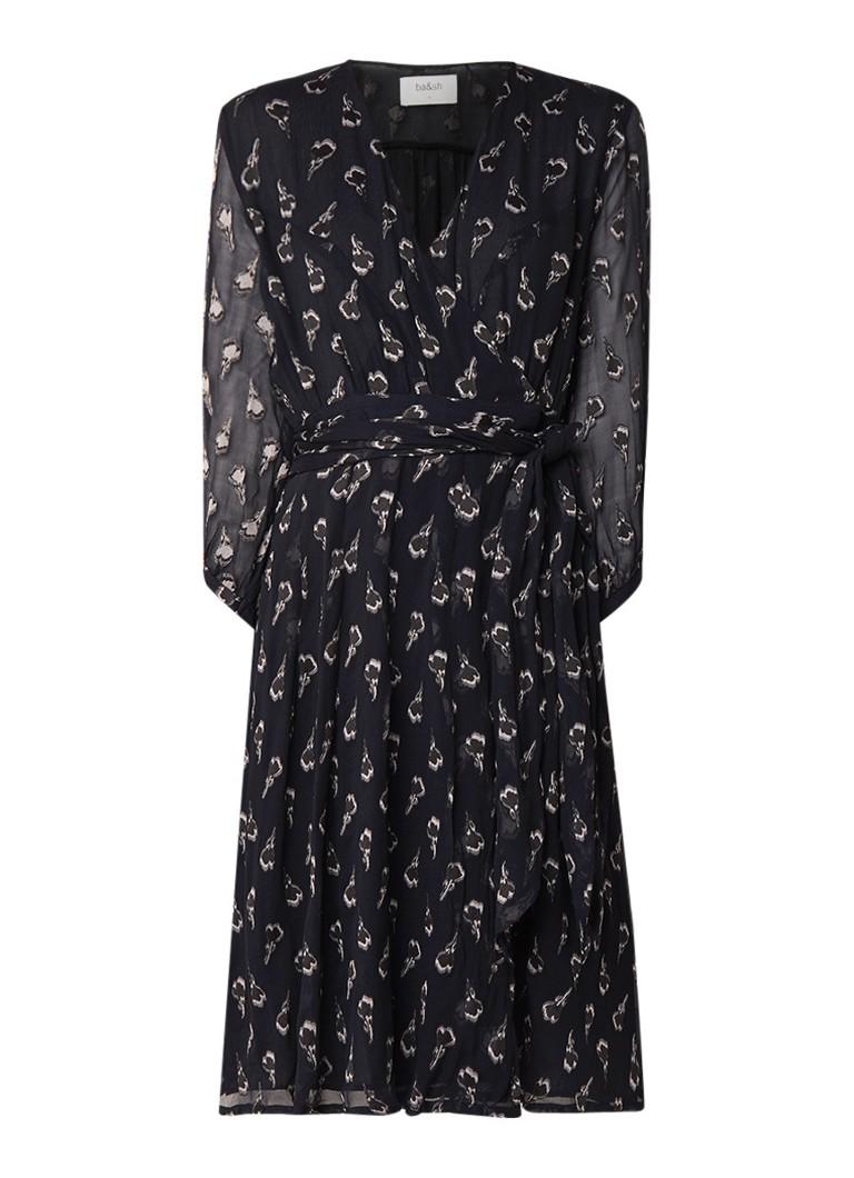 BA&SH Memory jurk van zijde met dessin en strikceintuur zwart