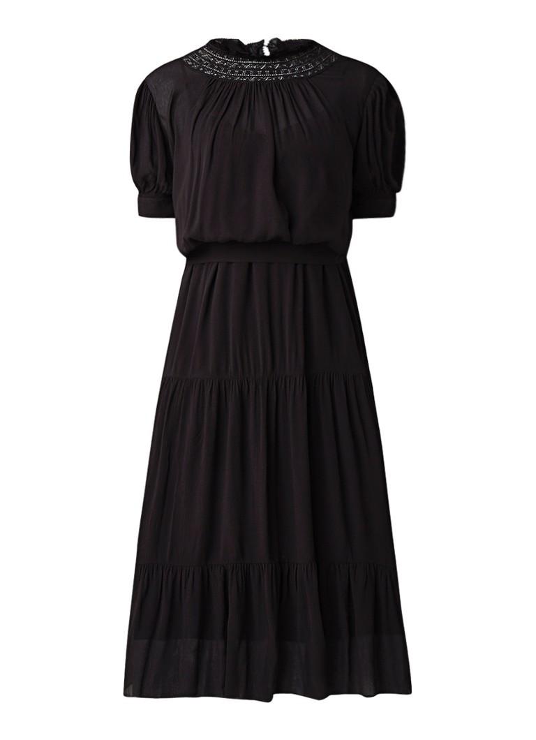 BA&SH Noda cami jurk met top en kant zwart