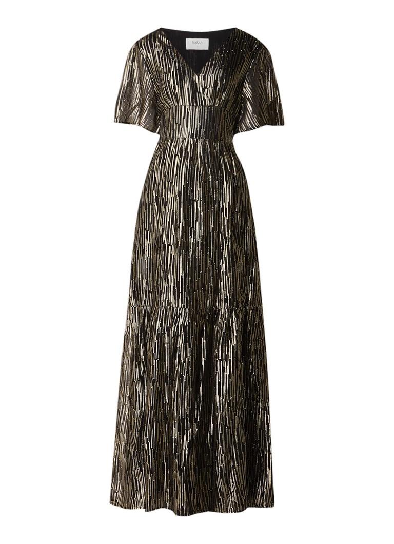 BA&SH Nixon maxi-jurk in zijdeblend met lurex goud