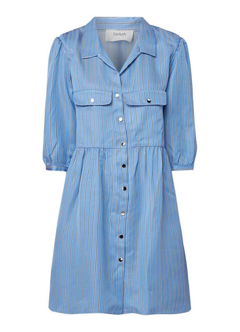 BA&SH Robe Santa blousejurk van satijn met streepdessin blauw