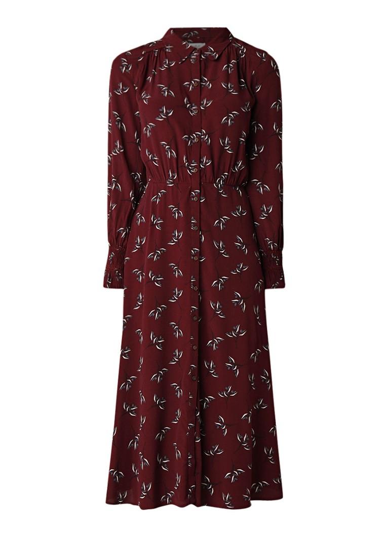 BA&SH Flower blousejurk van crêpe met bloemendessin bordeaux