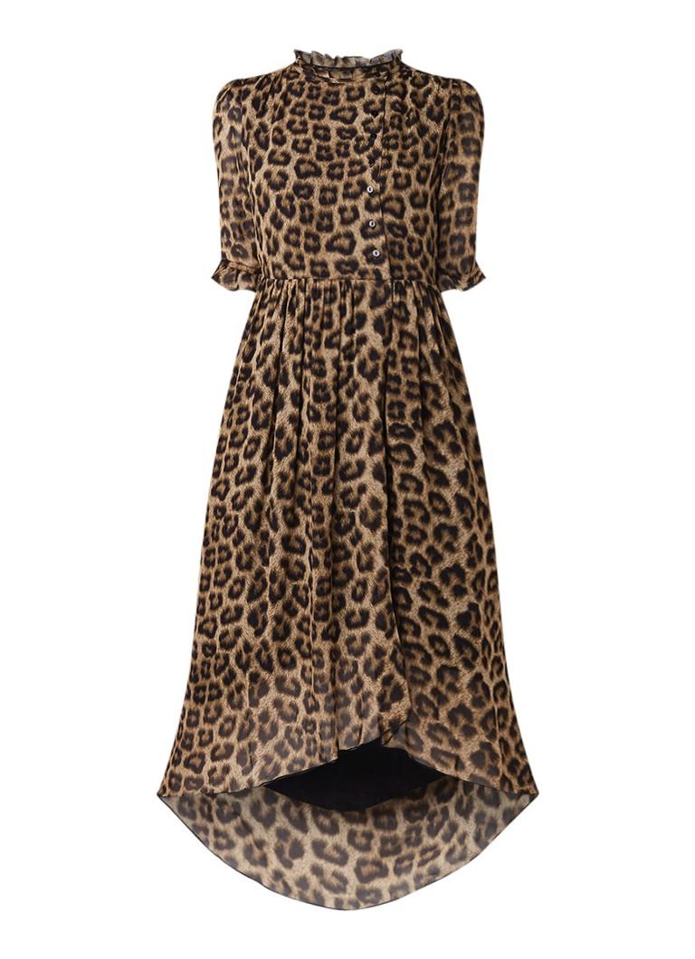 BA&SH Fifi tuniekjurk van satijn met luipaarddessin bruin