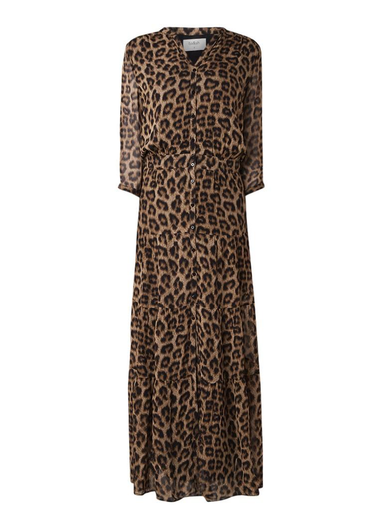 BA&SH Flake maxi blousejurk met luipaarddessin bruin