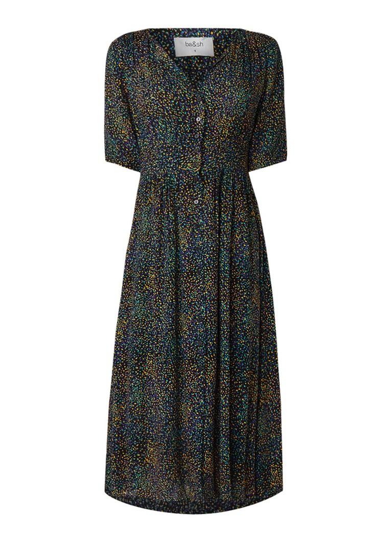 BA&SH Azala maxi blouse-jurk met dessin zwart