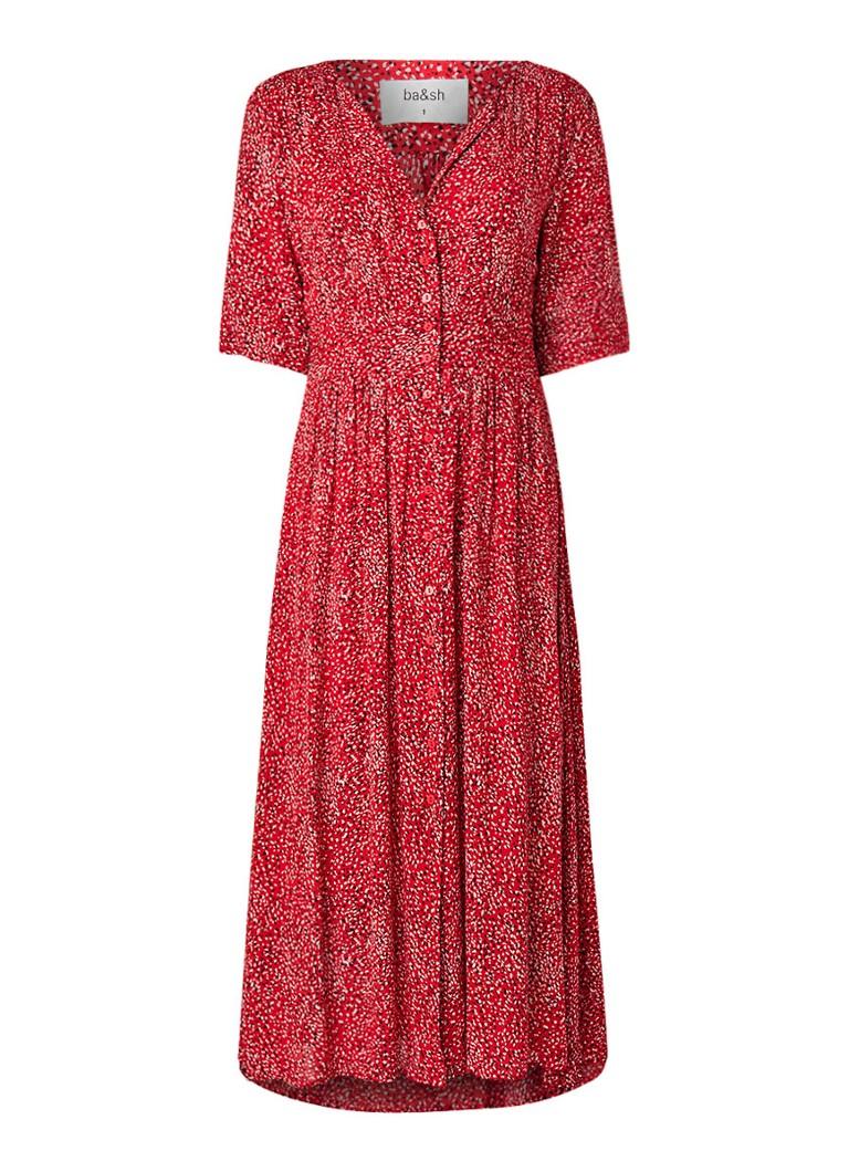 BA&SH Azala maxi blouse-jurk met dessin rood