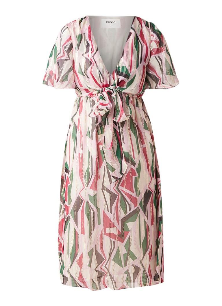 BA&SH Beryl midi-jurk in zijdeblend met strikdetail en dessin lichtroze