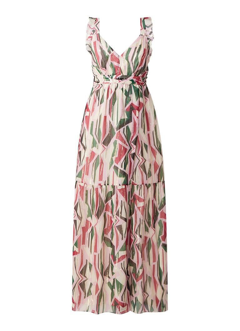 BA&SH Betty maxi-jurk van zijde met split en lurex lichtroze