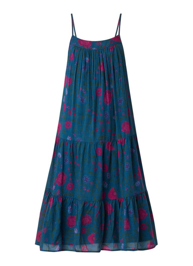 BA&SH Bella mouwloze midi-jurk met bloemendessin petrol