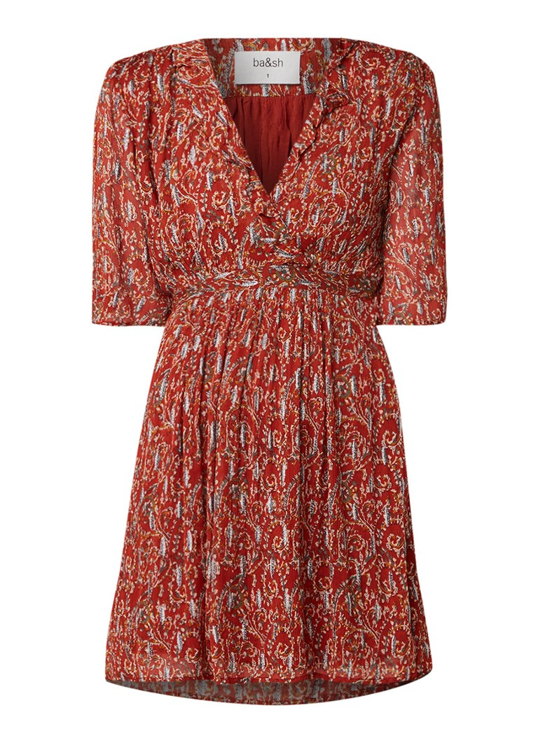 BA&SH Clem mini-jurk met paisleyprint en lurex lichtbruin