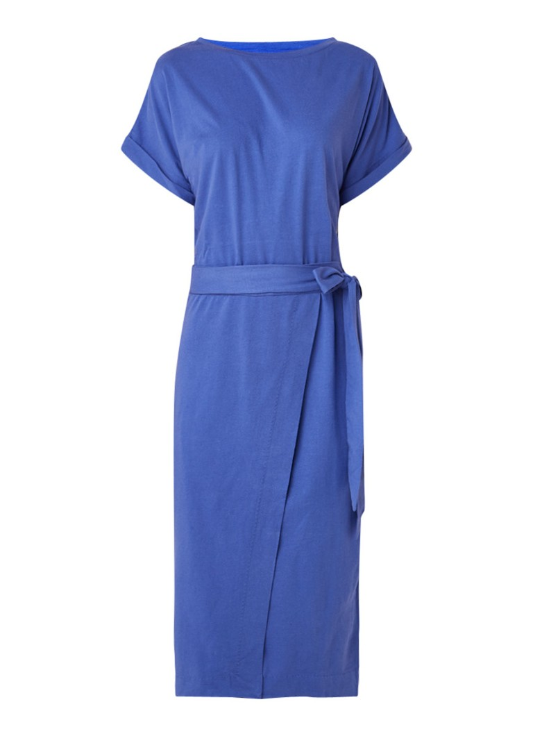 BA&SH Clare midi-jurk van jersey met ceintuur blauw