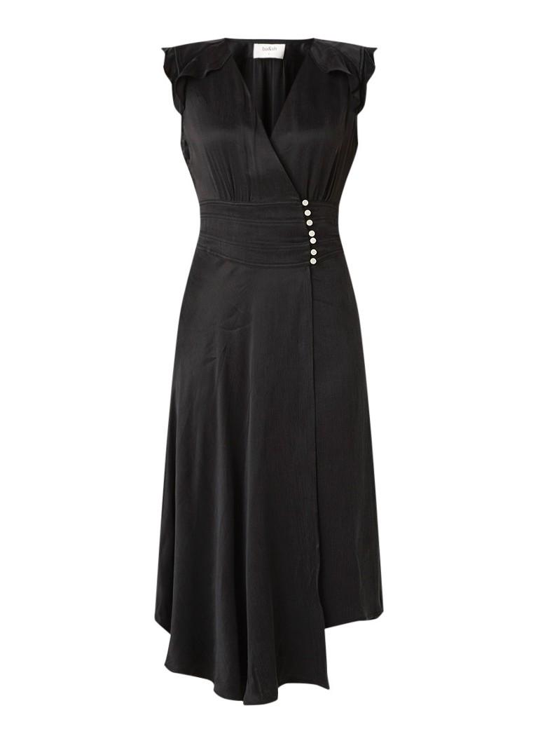 BA&SH Coralie mouwloze midi-jurk van satijn met split zwart