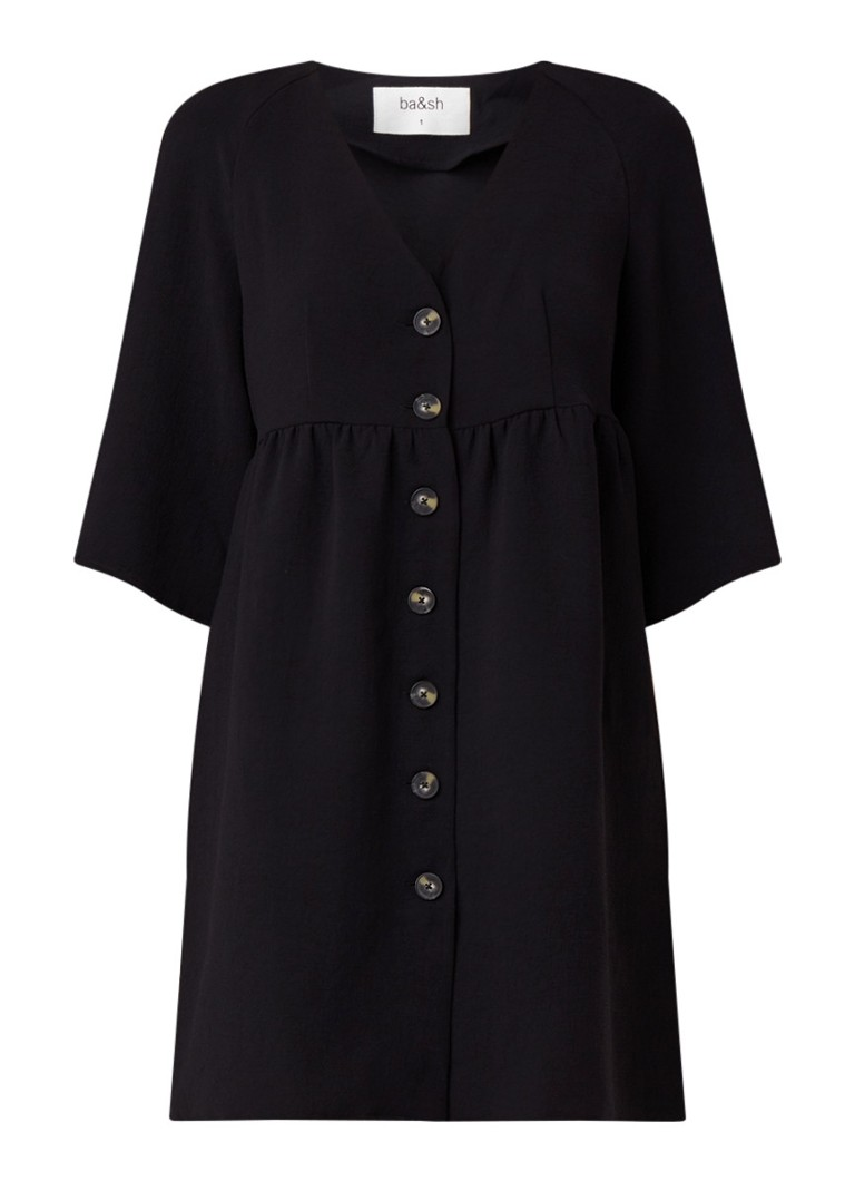 BA&SH Cath losvallende blousejurk van crêpe zwart