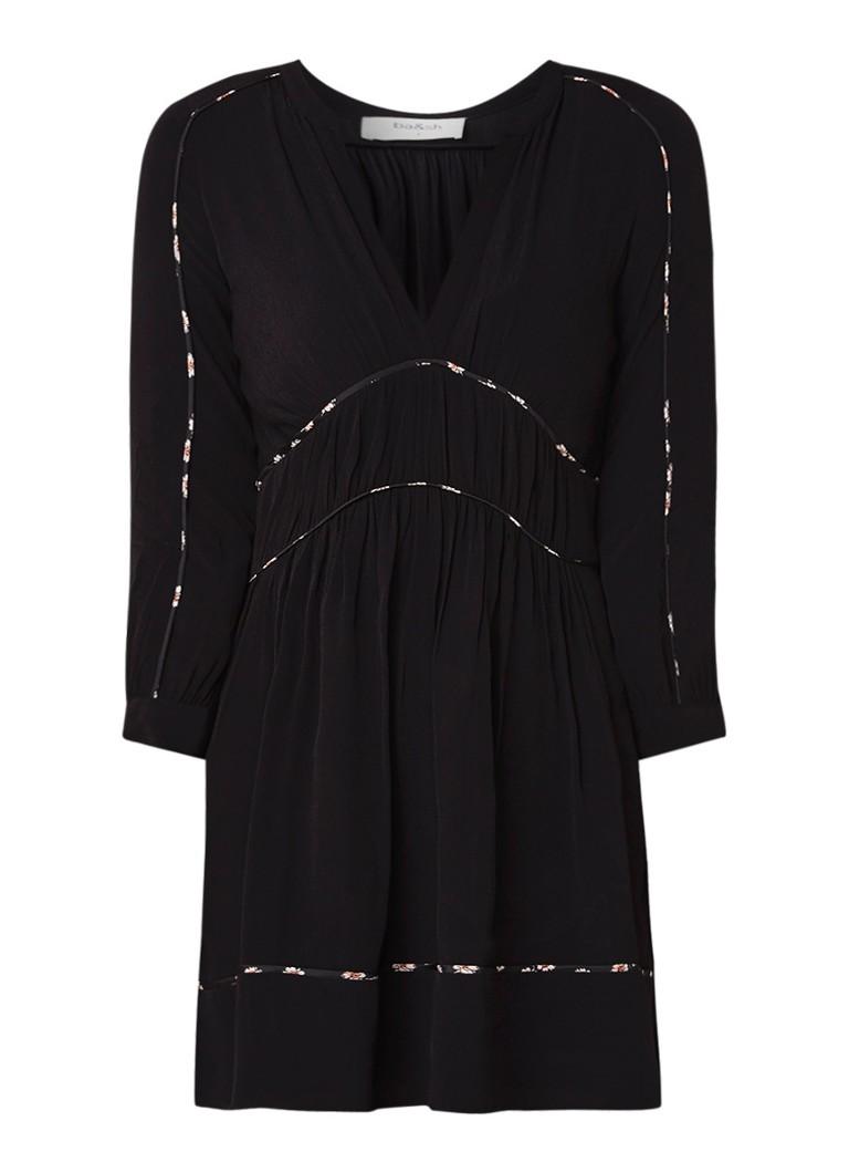 BA&SH Franny mini-jurk van crêpe met contrasterende bies zwart
