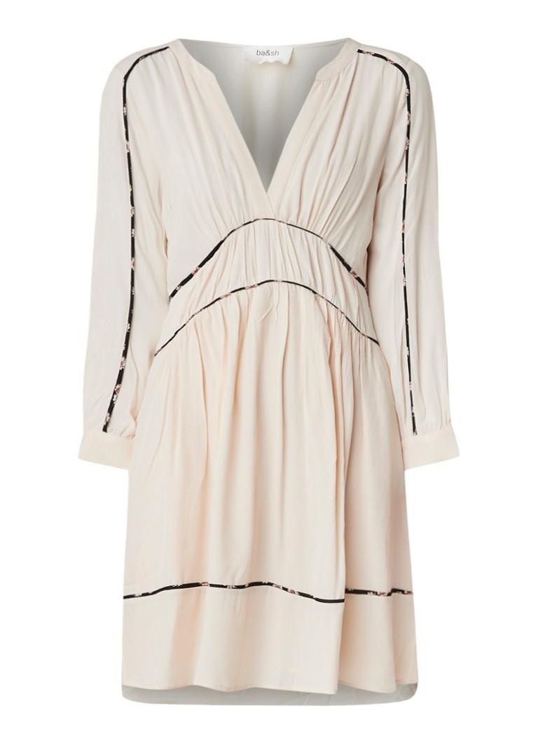 BA&SH Franny mini-jurk van crêpe met contrasterende bies beige