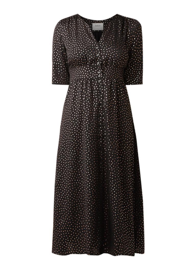 BA&SH Gala blousejurk met metallic dessin zwart