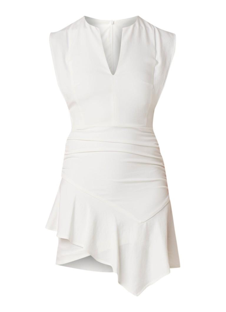 BA&SH Jess asymmetrische jurk van jersey met V-hals gebroken wit