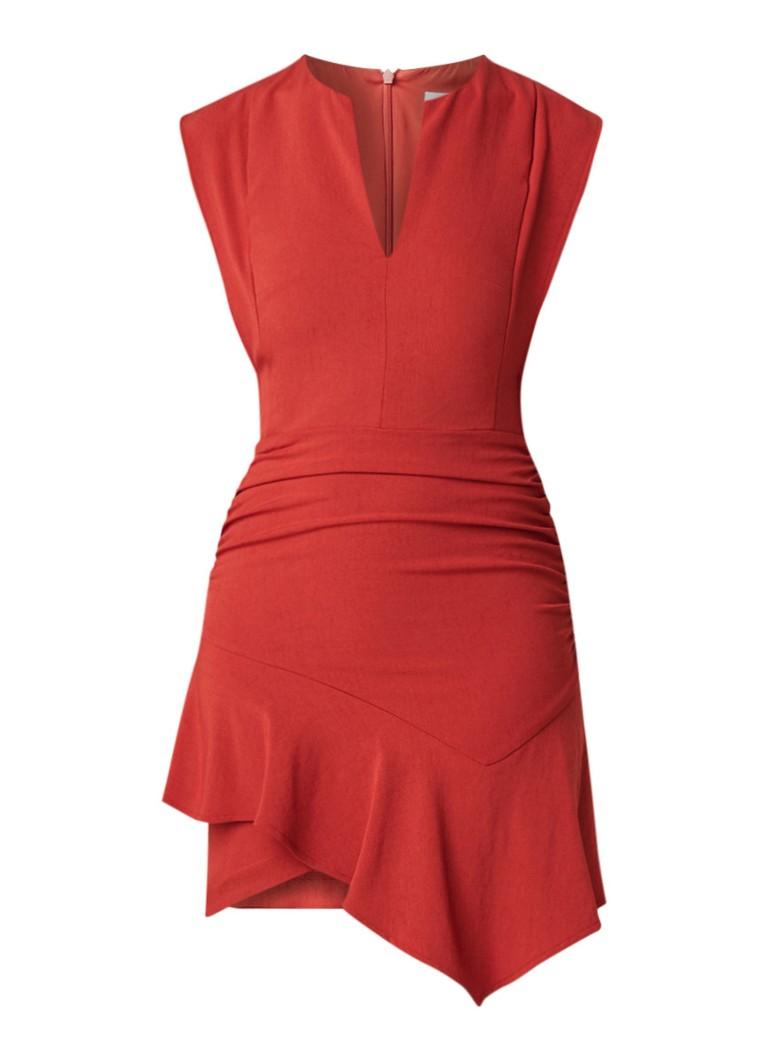 BA&SH Jess asymmetrische jurk van jersey met V-hals roodbruin