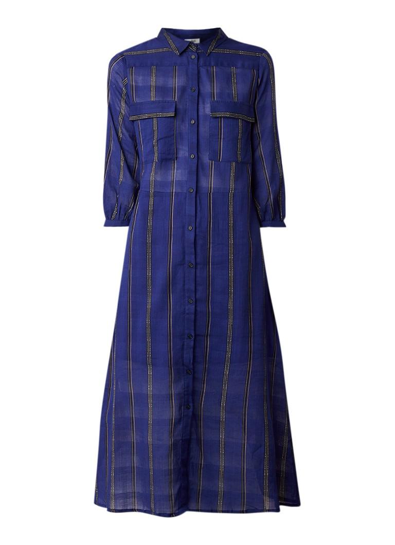 BA&SH Kinda blousejurk met streepdessin kobaltblauw