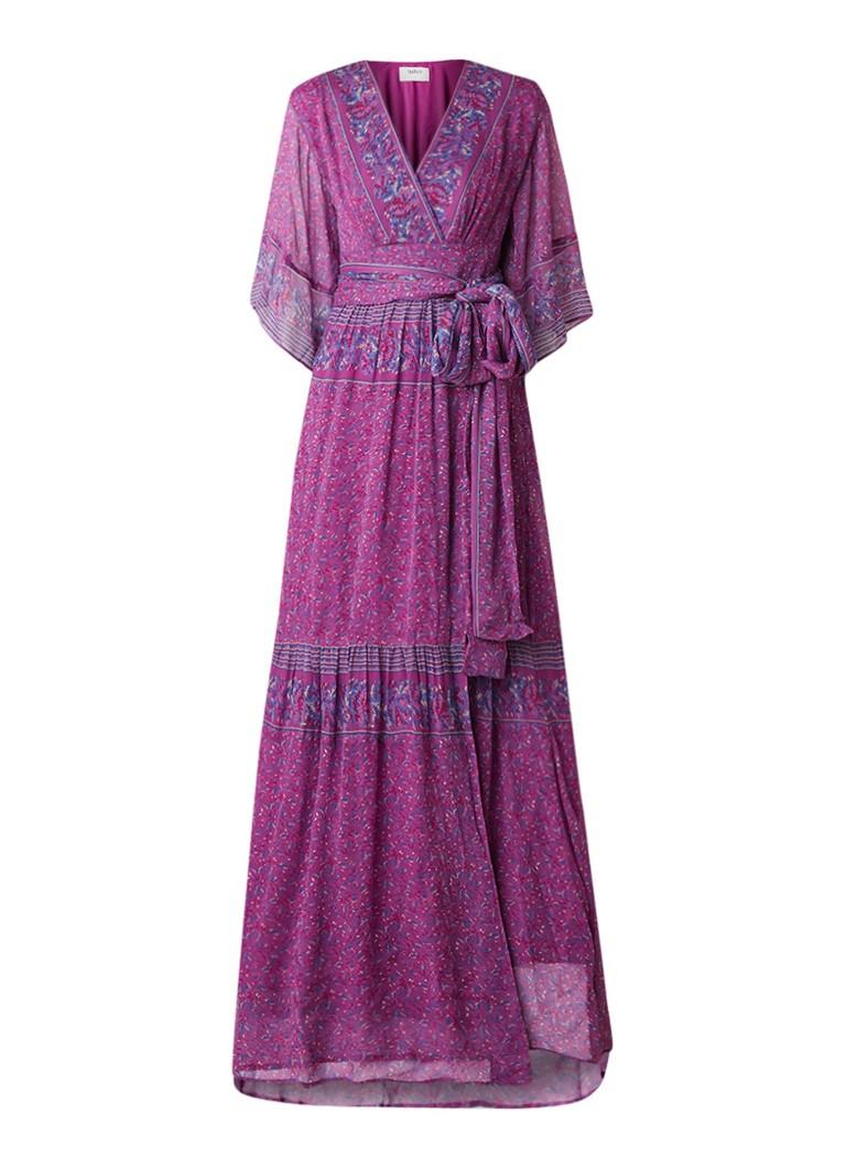 BA&SH Maya maxi-jurk van crêpe met bloemendessin fuchsia