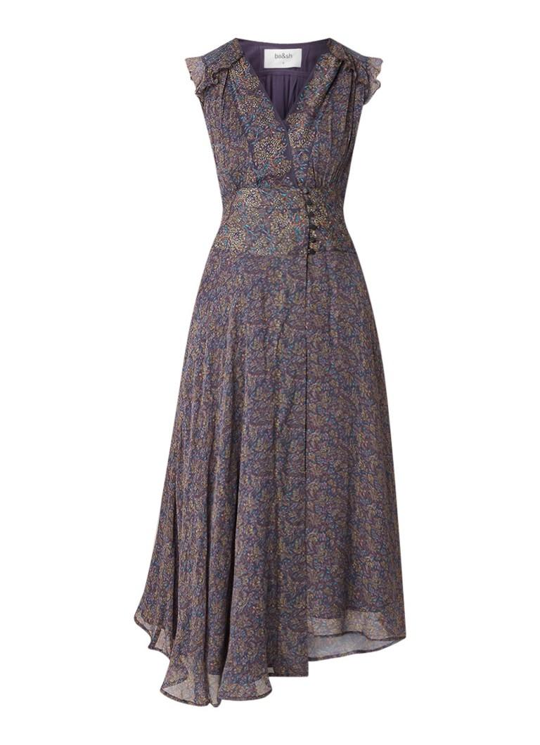 BA&SH Meryl midi-jurk van chiffon met overslag donkerblauw